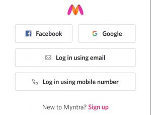 Myntra Sig up
