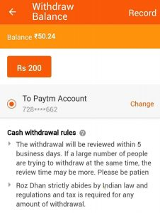 withdraw money from rozdhan app