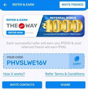 MyTeam11 referral code