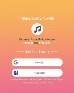 Indian Music Player App Sign Up