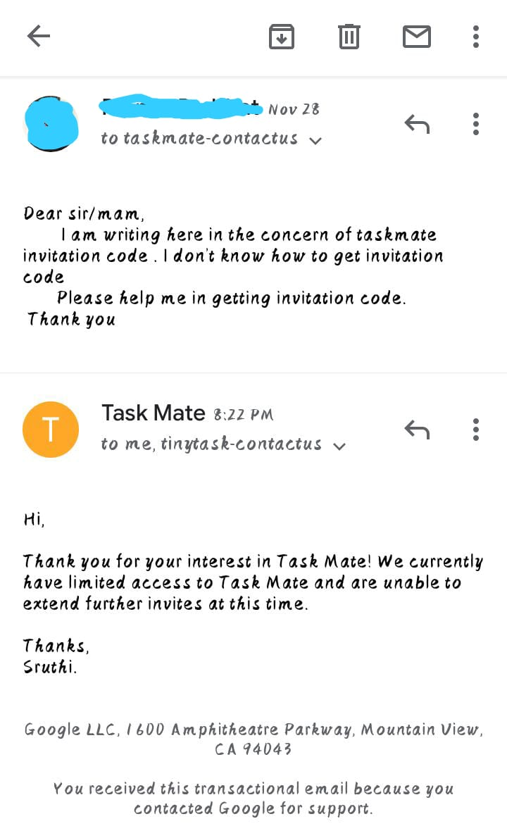Email About Taskmate Referral Code from google
