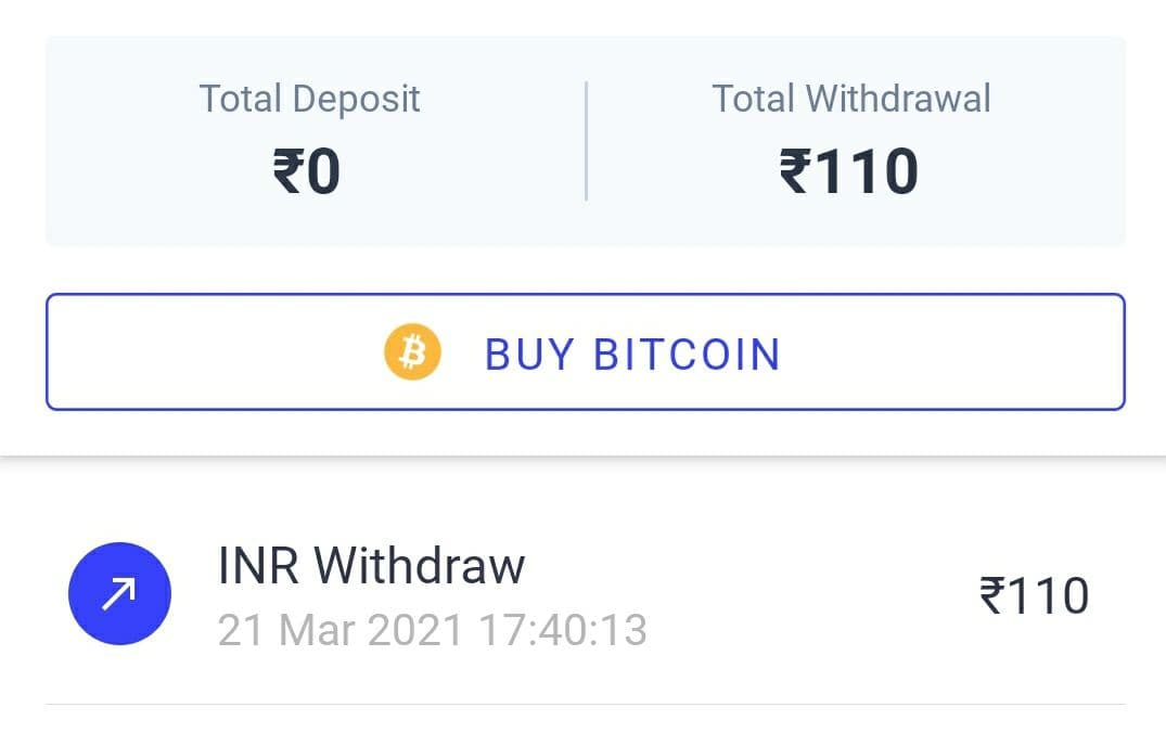 CoinSwitch App Withdrawal Proof