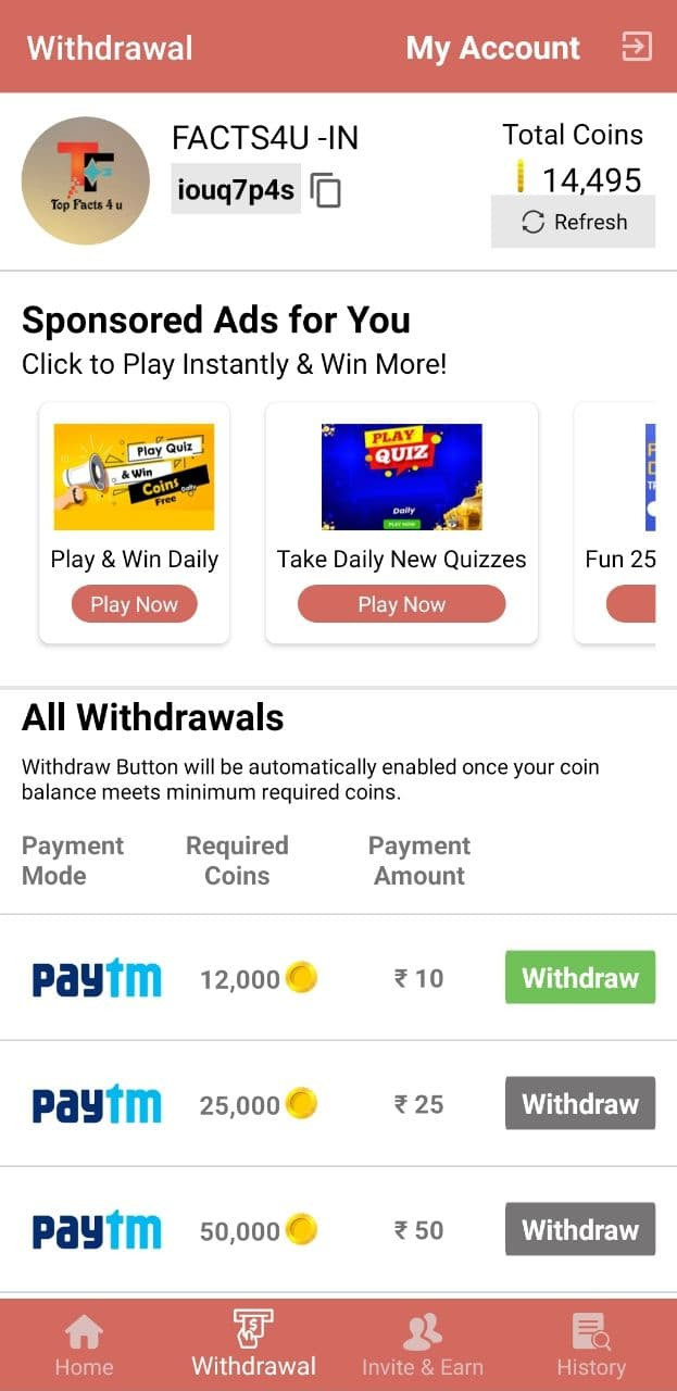 Player App Money Withdrawal