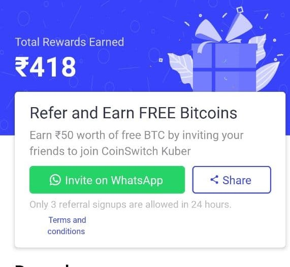 CoinSwitch Kuber Refer & Earn