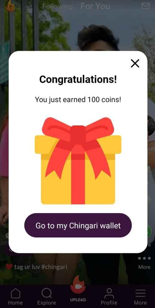 Chingari signup bonus