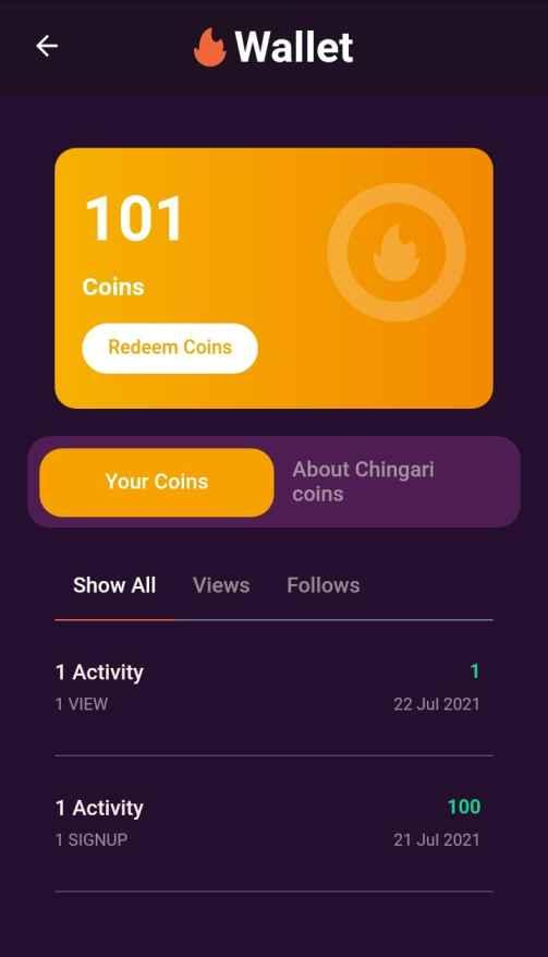 Chingari Referral code